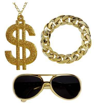 RAPPER (gold sunglassesgold dollar necklacegold b/let)