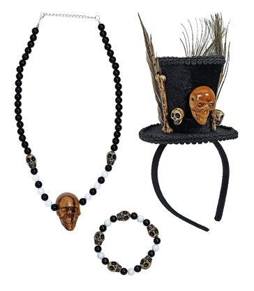 VOODOO PRIEST (mini hatskulls n/lacebeaded skulls b/let)