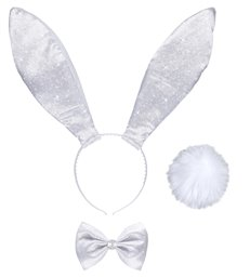 GLITTER BUNNY DRESS UP SET - WHITE (ears tail bow tie)