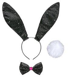 GLITTER BUNNY DRESS UP SET - BLACK (ears tail bow tie)