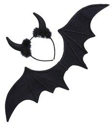 BLACK DEVIL DRESS UP SET (wings horns)