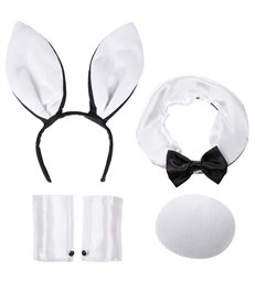 BUNNY SETS - WHITE/BLACK (ears collar tail cuffs)