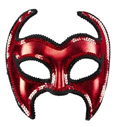 METALLIC DEVIL MASK WITH SEQUIN TRIM