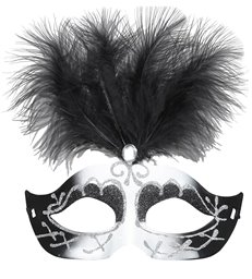 BLACK & WHITE VENICE EYEMASK WITH GLITTER GEM & FEATHERS