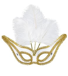 WHITE EYEMASK WITH GOLD TRIM & FEATHERS