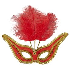 RED EYEMASK WITH GOLD TRIM & FEATHERS