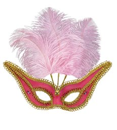 PINK EYEMASK WITH GOLD TRIM & FEATHERS