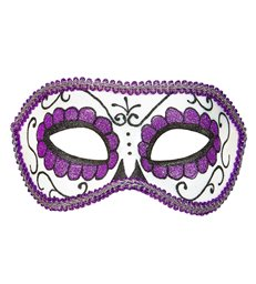 DIA DE LOS MUERTOS EYEMASK DECORATED - BLACK & PURPLE GLITTE