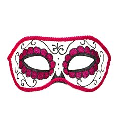 DIA DE LOS MUERTOS EYEMASK DECORATED - BLACK & PINK GLITTER