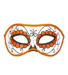 DIA DE LOS MUERTOS EYEMASK DECORATED - BLACK & ORANGE GLITTE
