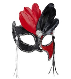 BLACK/RED GRAND BALL EYEMASK W/ GEMS BEADS & FEATHERS