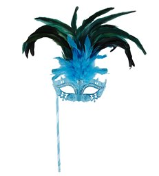 AZURE MARQUISE EYEMASK ON A STICK DECORATED WITH STRASS GLI