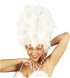 SEQUINNED FEATHER HEADDRESS WHITE