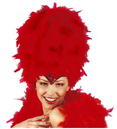 SEQUINNED FEATHER HEADDRESS RED