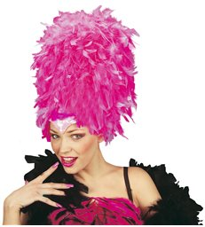SEQUINNED FEATHER HEADDRESS HOT PINK