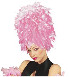 SEQUINNED FEATHER HEADDRESS SOFT PINK