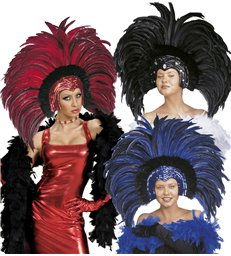 FEATHERED BRAZIL HEADDRESS red blue or black
