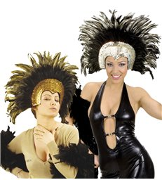 MOULIN ROUGE FEATHERED HEADDRESS  gold or silver