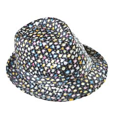 SEQUINNED FEDORA MULTICOLOUR POLKA DOTS