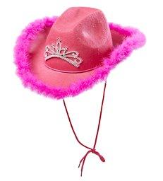 PINK COWGIRL HAT FELT W/TIARA & MARABOU