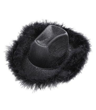 COWGIRL HAT BLACK LUREX (with marabou trim)