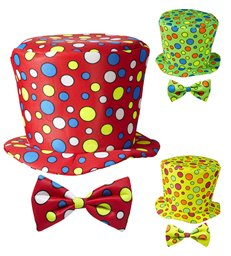CLOWN TOP HAT & BOW TIE - CHILD SIZE (green red yellow)