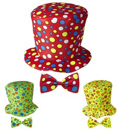 CLOWN TOP HAT & BOW TIE (green red yellow)