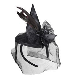 MINI WITCH HAT WITH FEATHERS AND VEIL