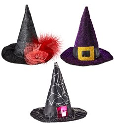 MINI WITCH HAT - purple/black/black&silver