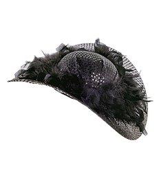 SEQUIN JACQUELINE HAT W/FEATHER TRIM - BLACK