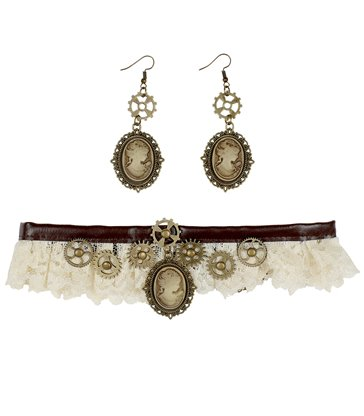 STEAMPUNK LACE CHOKER & CAMEO EARRINGS
