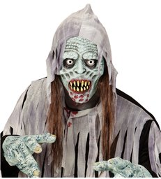 INFECTED ZOMBIE HOODED MASK WITH HAIR