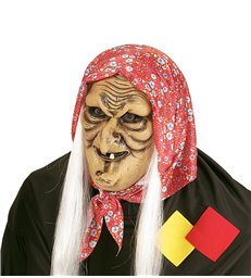 WITCH HALF FACE MASK WITH GREY HAIR