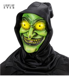 HOODED WITCH MASK LIGHT- UP EYES