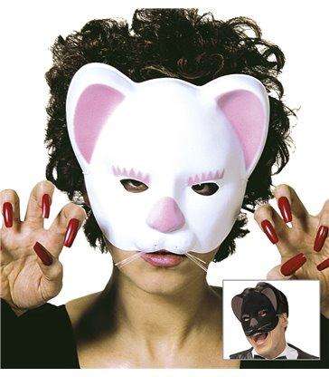 CAT MASK - FLOCKED BLACK/WHITE