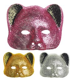 GLITTER CAT MASK - GOLD/SILVER/PINK