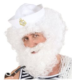 CHARACTER CURLY WIG/BEARD - WHITE