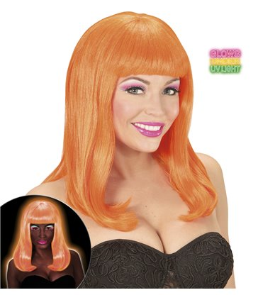 NEON ORANGE PATSY WIG in polybag