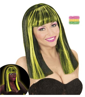 NEON YELLOW STREAKED BLACK PATSY WIG in polybag