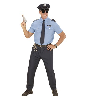 POLICE OFFICER MAN (shirt pants belt tie hat)