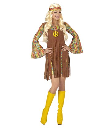 HIPPIE GIRL (dress w/vest h/band peace sign necklace)