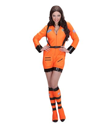 ORANGE ASTRONAUT LADY (jumpsuit boot covers)