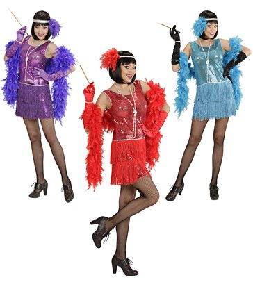 DELUXE FLAPPER COSTUME - 3 colours (dress headband)