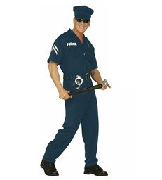 COP MALE COSTUME (jumpsuit belt hat)