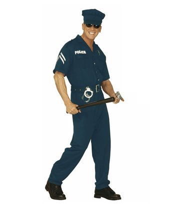 COP MALE COSTUME (jumpsuit belt hat)