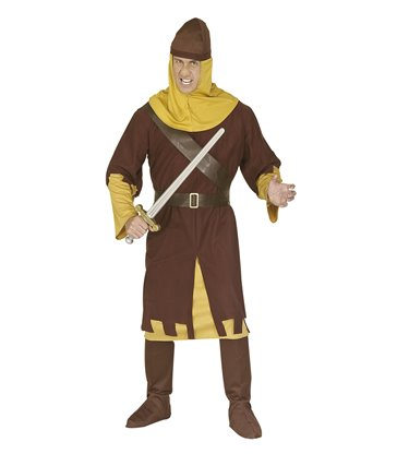 MEDIEVAL SOLDIER COSTUME (robe belt helmet boot covers)