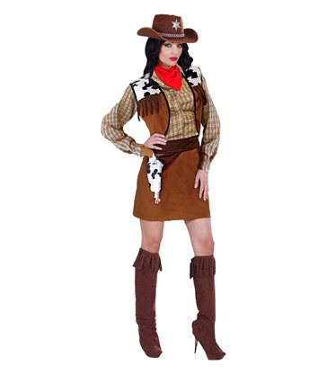 WESTERN COWGIRL COSTUME (shirt vest skirt belt bcovers)