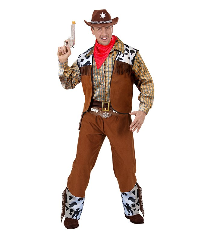 Cowboy Printed Mens Adult Country Western Halloween Costume T-Shirt