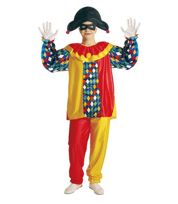 HARLEQUIN COSTUME (coat with collar pants hat eyemask)