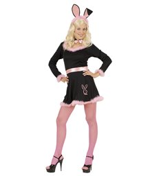 BUNNY DRESS - BLACK (dress belt collar w/bow tie ears)